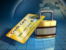 Credit card security. Credit card secured by a metal lock. Digital illustration Royalty Free Stock Photo