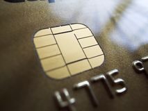 Credit card security. Close up of security chip on a credit card royalty free stock image