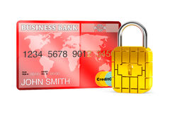 Credit Card with Security Chip as Padlock Stock Photos
