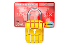 Credit Card with Security Chip as Padlock Royalty Free Stock Photography