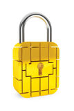 Credit Card Security Chip as Padlock Stock Photos