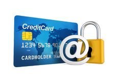 Credit Card Security Concept. Isolated on white background. 3D render Royalty Free Stock Images