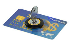Credit card security concept. Isolated on white background Royalty Free Stock Photography