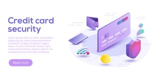 Credit card security isometric vector illustration. Online payment protection system concept with smartphone and wallet. Secure b. Ank transaction with password stock illustration