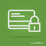 Credit card security outline icon white color isolated on green Royalty Free Stock Image