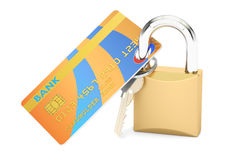 Credit Card Security and Safety concept, 3D rendering. Credit Card Security and Safety concept Stock Photo