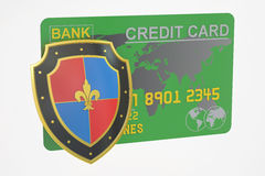 Credit card with security shield, 3D rendering Stock Photo