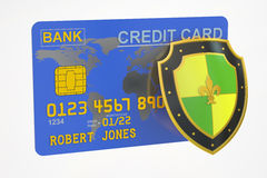 Credit card with security shield, 3D rendering Royalty Free Stock Photography