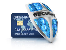 Credit card and security shield Stock Images