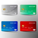 Colorful credit card set design. Credit card set . With inspiration from the abstract. Blue red and green color on white background. Vector illustration. Glossy Vector Illustration