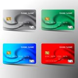 Credit card set . With inspiration from the abstract. Blue red and green color on white background. Vector illustration. Glossy plastic style royalty free illustration