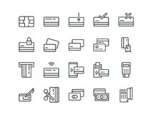 Credit card. Set of outline vector icons.  Royalty Free Stock Image