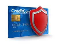 Credit Card and Shield (clipping path included) Stock Photography