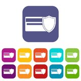 Credit card and shield icons set Royalty Free Stock Photo