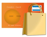 Credit card and shopping bag Royalty Free Stock Photos
