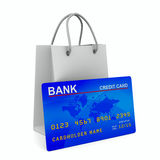 Credit card with shopping bag Royalty Free Stock Photo