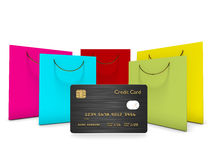 Credit card with shopping bags  over white Stock Photos