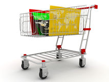 Credit card in shopping cart Stock Photography