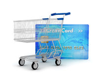 Credit card and shopping cart Stock Image