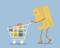 Credit card with shopping cart  in cartoon style Stock Photos