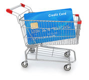 Credit Card in Shopping Cart. 3d rendered and  image Royalty Free Stock Photography