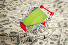 Credit card within shopping cart. Stock Photo
