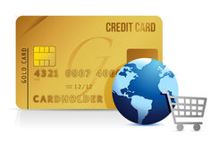 Credit card, shopping cart and globe - concept Stock Image