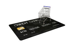 Credit Card with a shopping cart on white background Stock Photos