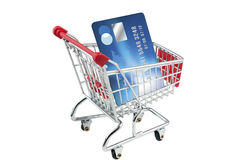 Credit card in a shopping trolley. Blue bespoke designed credit card in a shopping trolley Royalty Free Stock Photography
