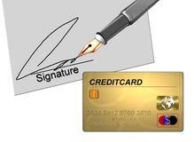 Credit card and signature Royalty Free Stock Photo