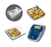 Credit card, sim and datafast secure Stock Photos