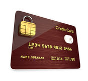 Credit card with sim padlock  isolated over white background Royalty Free Stock Photography