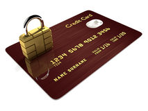 Credit card with sim padlock isolated over white Stock Photos