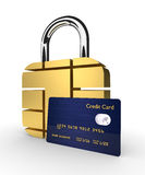 Credit card with sim padlock  over white background. 3d credit card with sim padlock  over white background Stock Images