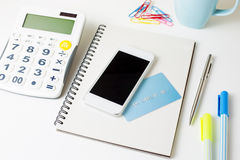 Credit card and smart phone for online payment Stock Photo