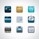 Credit card square icon set. Set of credit card features and banking related icons