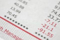 Credit card statement Stock Image