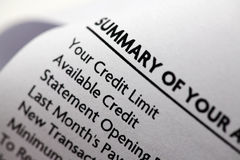 Credit Card Statement Close-Up Royalty Free Stock Image