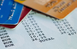 Credit cards and bill expenses statement Stock Image