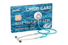 Credit card and stethoscope, financial aid concept. 3D rendering. Isolated on white background Royalty Free Stock Photography