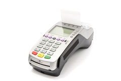 A credit card swipe machine on white.  Royalty Free Stock Photo