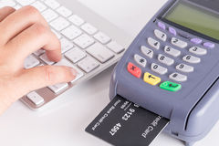 Credit Card Swipe Through Terminal For Sale Stock Photos