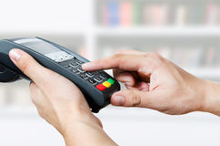 Credit card swipe through terminal for sale. In store Stock Image