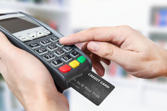 Credit card swipe through terminal for sale. In store Royalty Free Stock Photo