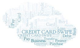 Credit Card Swipe word cloud. Wordcloud made with text only stock illustration