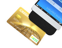 Credit card swiping through a mobile payment attachment for smartphone.  Stock Image