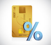 Credit card t and blue percentage illustration Stock Images