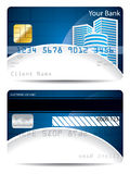 Credit card template in blue white with skyskrapers Royalty Free Stock Photography
