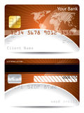 Credit card template with bursting world map. Credit card template in orange white with bursting world map Royalty Free Stock Photo