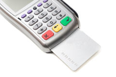 Credit card terminal. Credit card in the bank terminal. Isolate Stock Photography